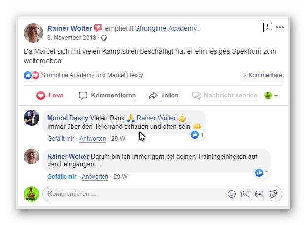 Bewertung Facebook - Strongline Academy - Marcel Descy